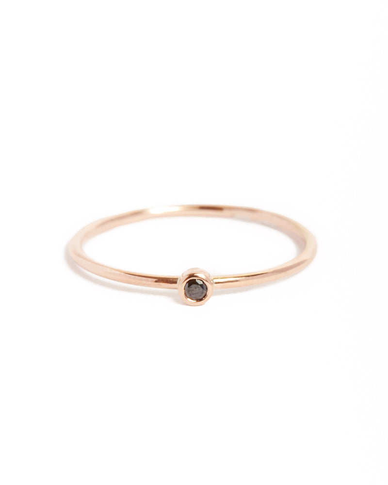 Neo Black Diamond Ring Small - 9ct Rose Gold