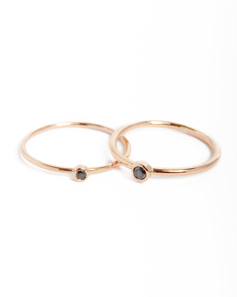 Neo Black Diamond Ring Large - 9ct Rose Gold
