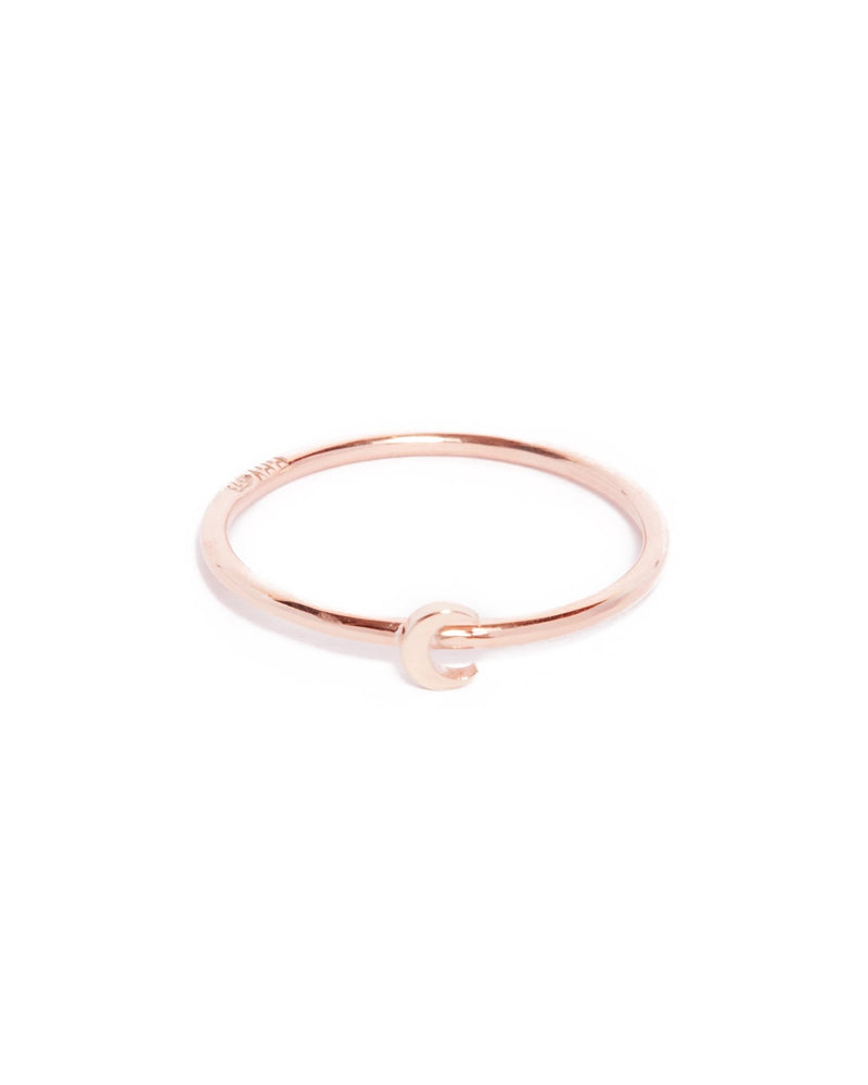 Tiny Moon Ring - 9ct Rose Gold