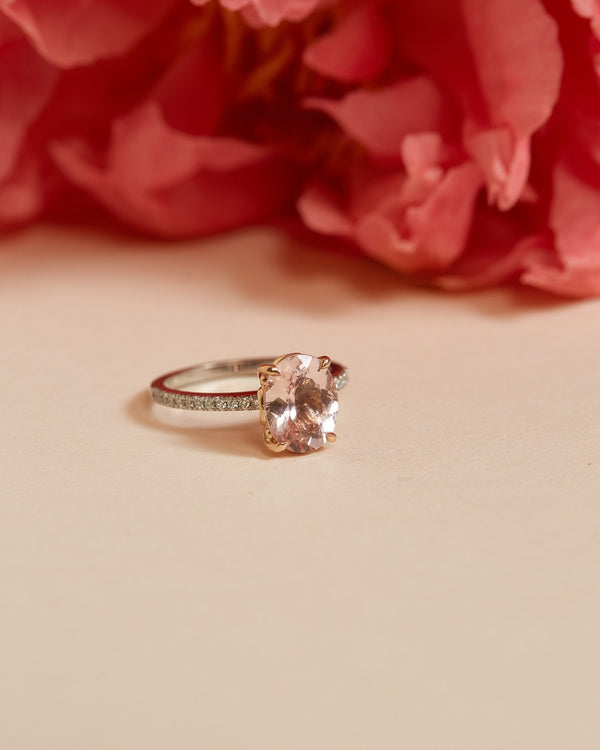 Rose Morganite & Diamond Ring - 14ct Rose & White Gold