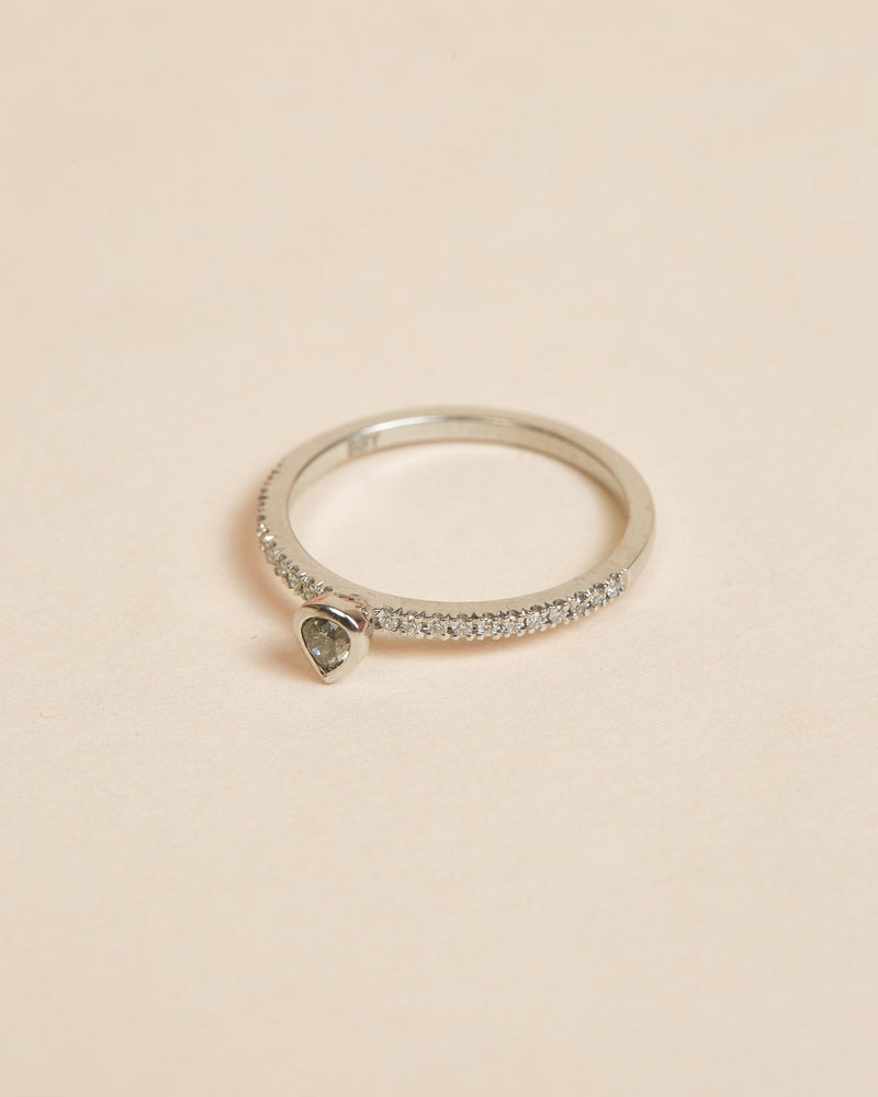 Ash Grey Diamond Ring - 14ct White Gold