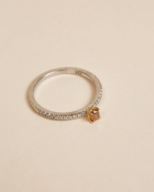 Sol Orange Diamond Ring - 14ct Gold & White Gold