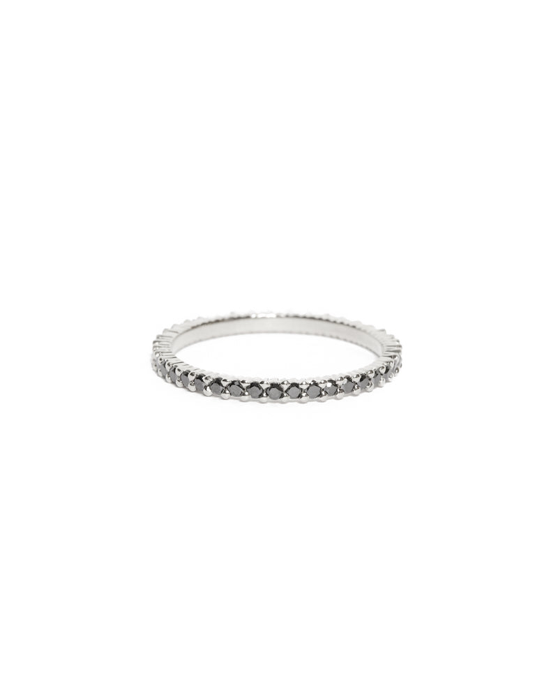 Sia Full Circle Black Diamond Ring - 14ct White Gold