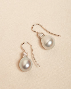 Belle Pearl and Diamond Earrings - 9ct White Gold