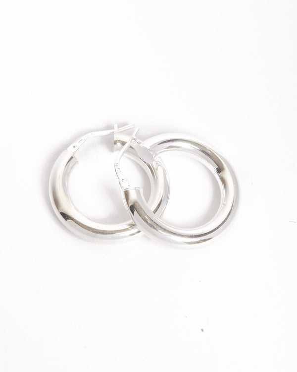 Super Chunky Tube Hoops Small - Silver