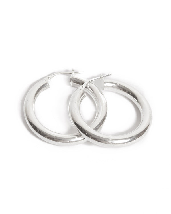 Super Chunky Tube Hoops Medium - Silver