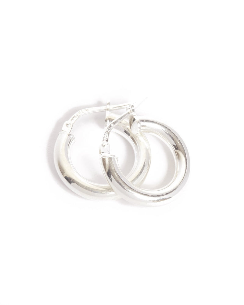 Chunky Tube Hoops Extra Small - Silver