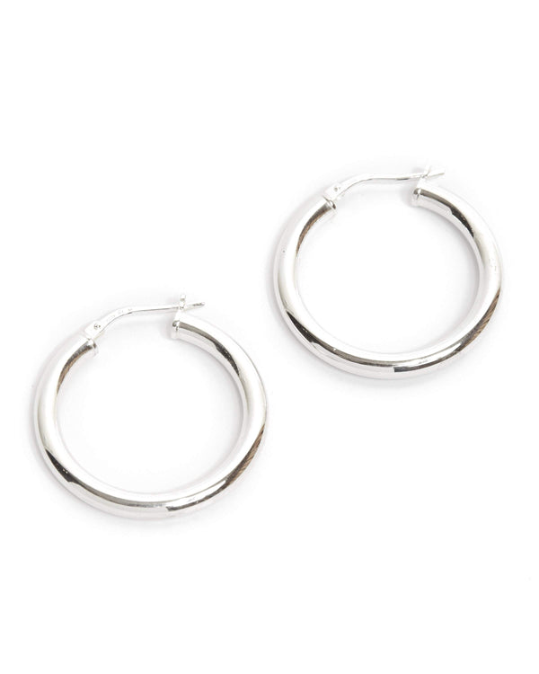 Chunky Tube Hoops Medium - Silver