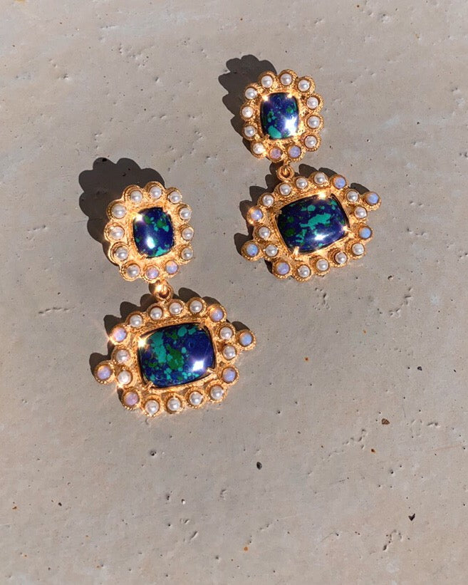 Nina Earrings Green/Blue