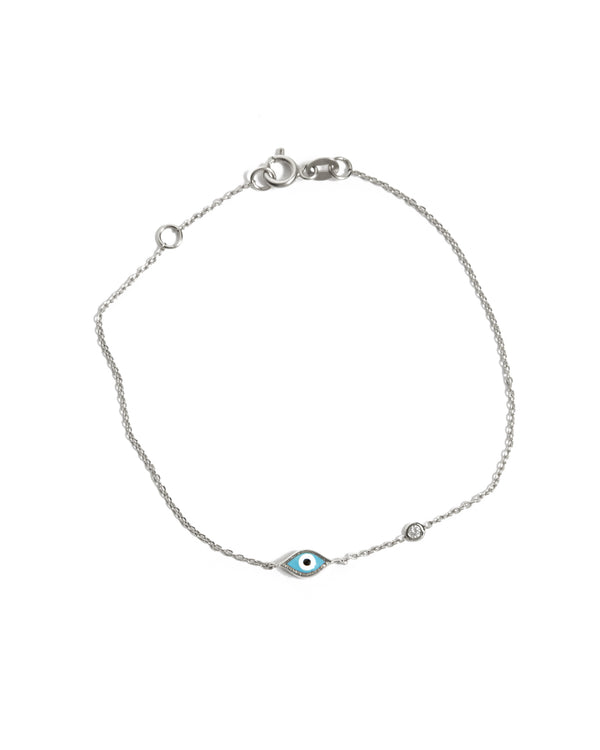 Marquise Evil Eye & Diamond Bracelet - 14ct White Gold