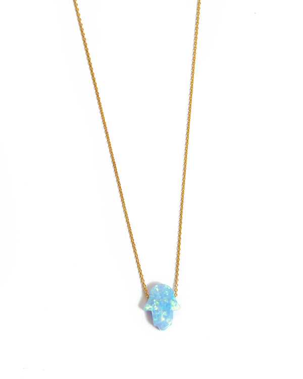 Small Opal Hamsa Hand Necklace Light Blue - 14ct Gold