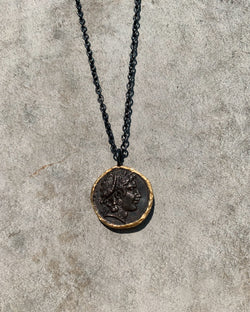 Greek Coin Necklace - Silver & 24ct Yellow Gold