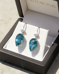 Pear Shape Blue Topaz & Diamond Earrings - 14ct White Gold