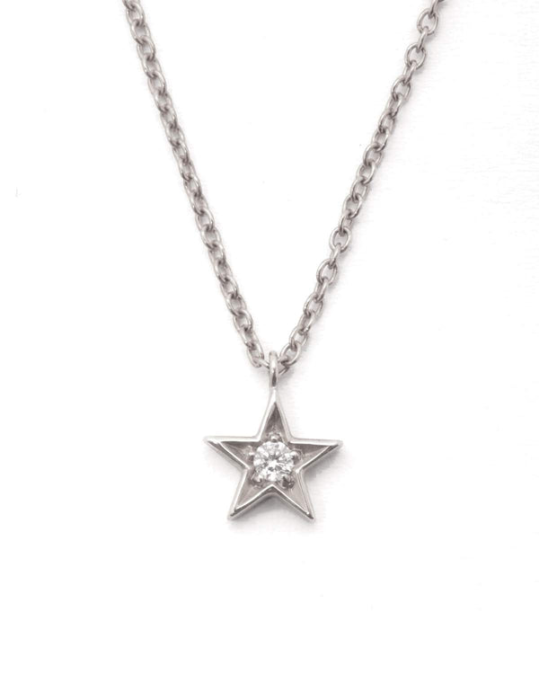 Star Diamond Necklace - 9ct White Gold