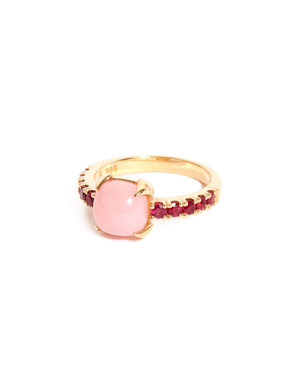 Pink Opal & Ruby Ring
