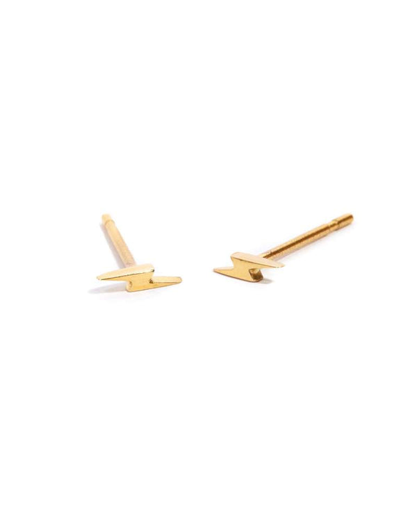 Tiny Lightning Bolt Studs - 9ct Gold
