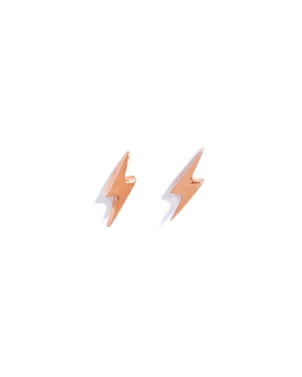 Tiny Lightning Bolt Studs - 9ct Rose Gold
