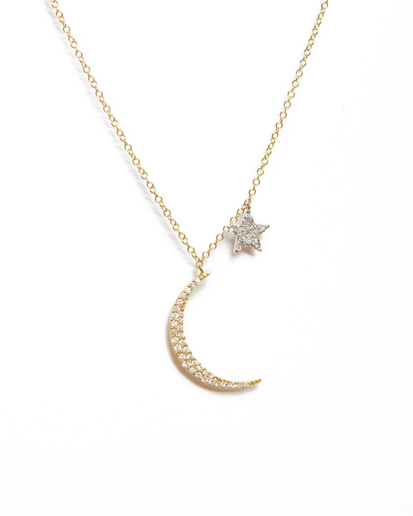 Crescent Moon & Star Necklace - 14ct Yellow Gold