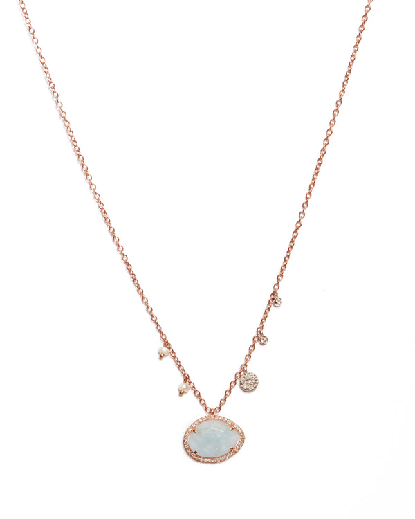 Aquamarine with Off-Centered Pearls & Diamond Charms