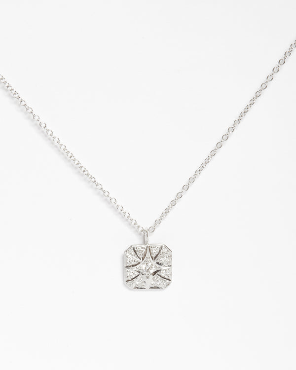 Square Diamond Necklace Small - 9ct White Gold