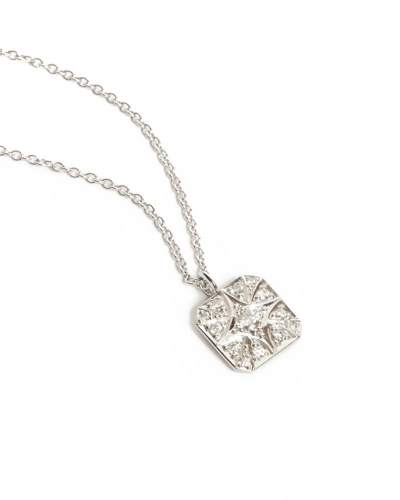 Cora Square Diamond Necklace - 9ct White Gold