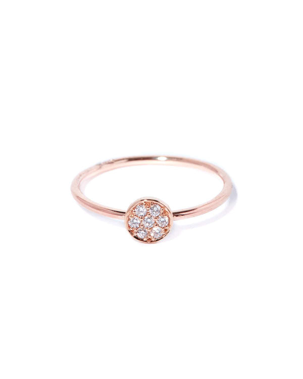 Petite Pave Diamond Ring - 9ct Rose Gold