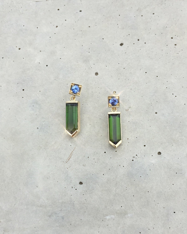 Green Tourmaline and Ceylon Sapphire Earrings - 14ct Gold