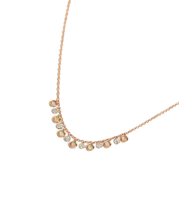 Opal and Diamond Bezel Necklace – 14ct Rose Gold