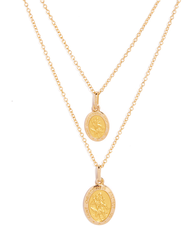 St. Christopher Necklace Oval 12mm - 9ct Gold