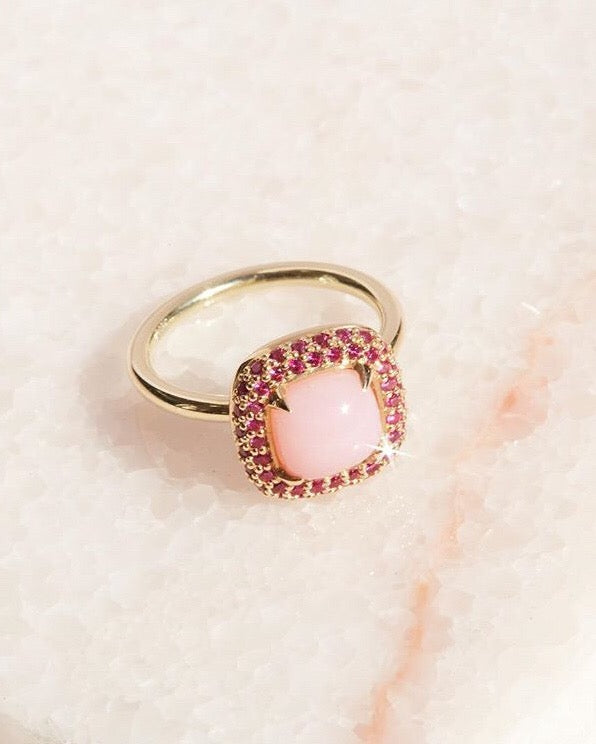 Pink Opal Pave Roll Ruby Ring - 14ct Yellow Gold