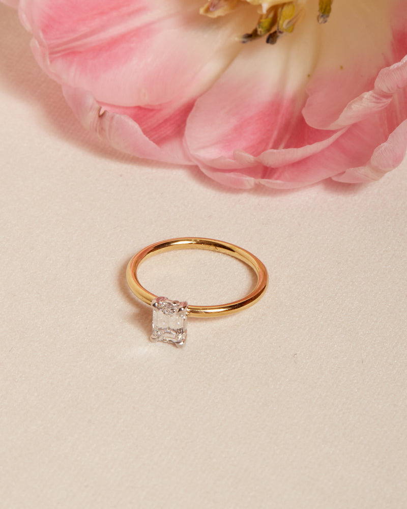 Edie Emerald Cut Diamond Solitaire - 18ct Gold & White Gold