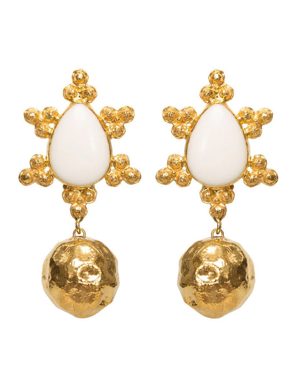 Mireille Earrings Gold & White