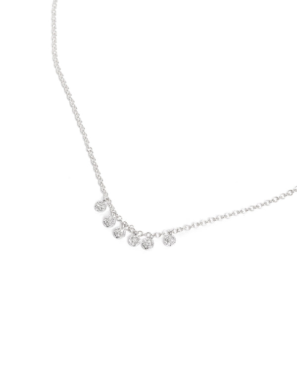 Pave Diamond Charm Necklace - 14ct White Gold