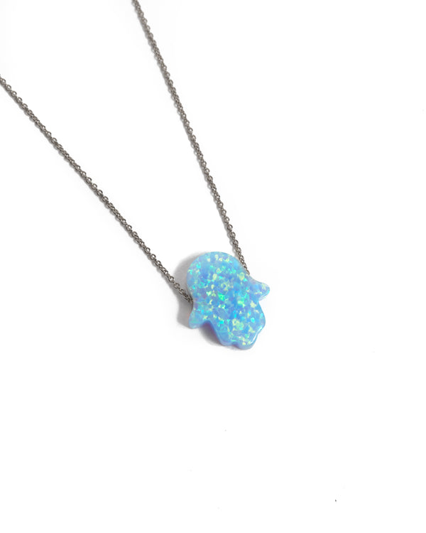 Large Opal Hamsa Hand Necklace Light Blue - 14ct White Gold