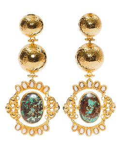 Paloma Earrings Gold & Turquoise