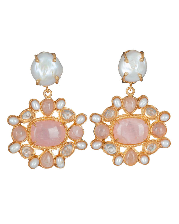 Abriana Earrings Pink & Pearl