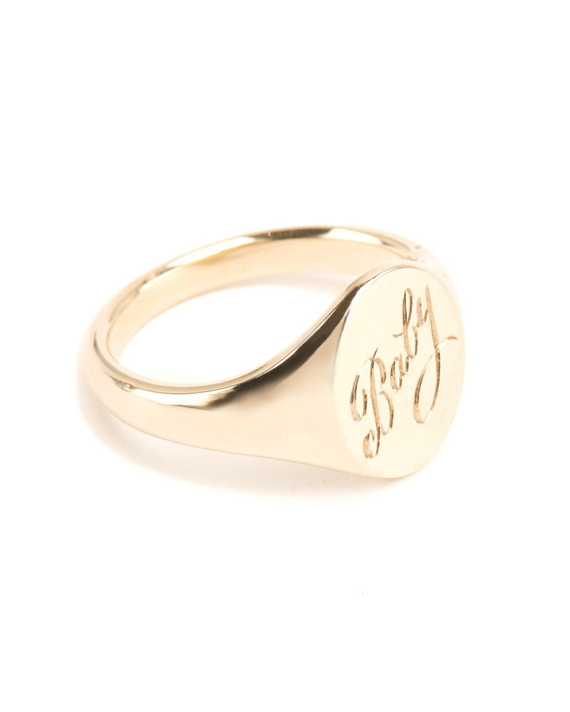Fine Signet With Engraving - 9ct Gold