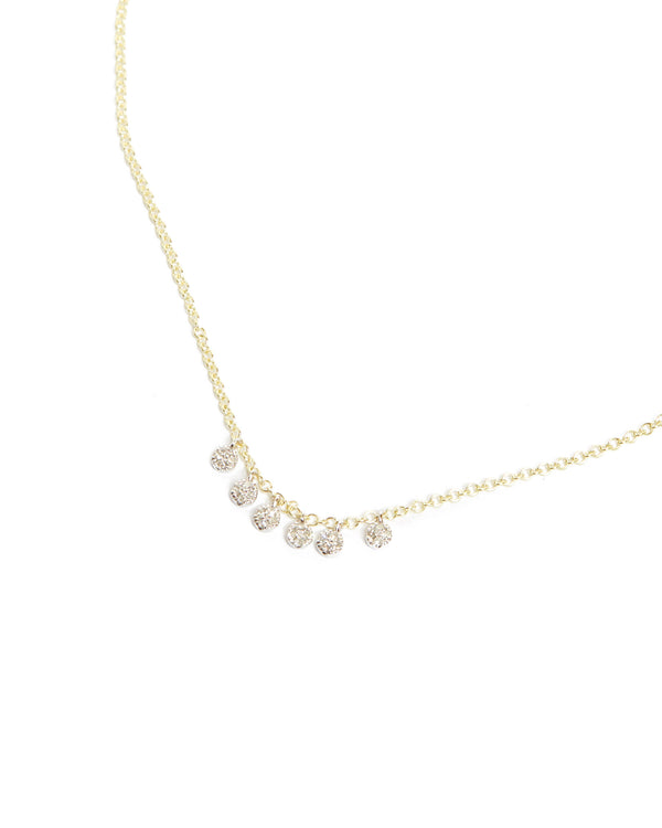 Pave Diamond Charm Necklace - 14ct Yellow Gold