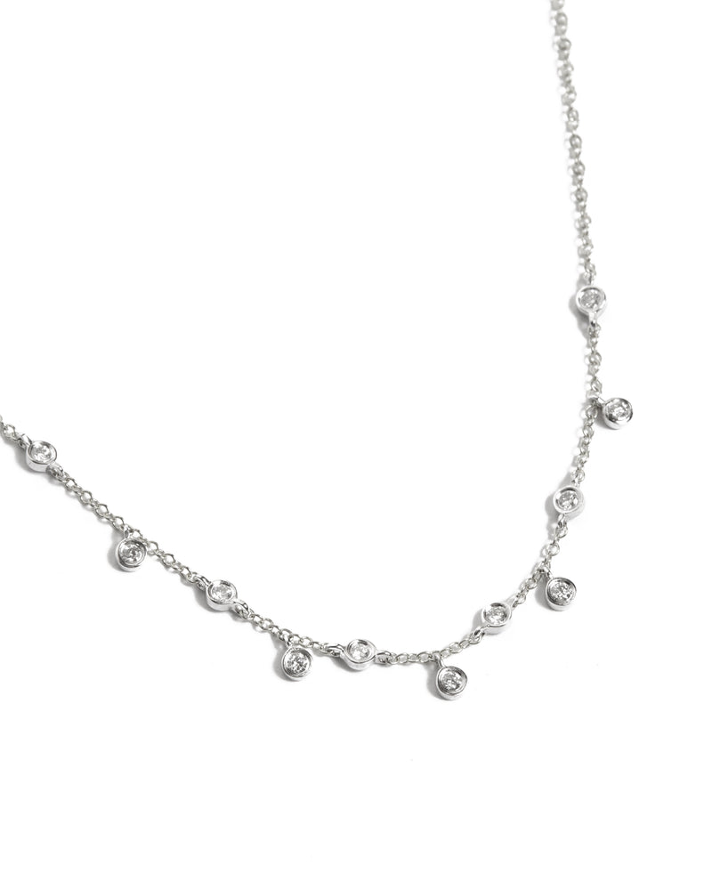 Short Diamond Bezel Drop Necklace - 14ct White Gold