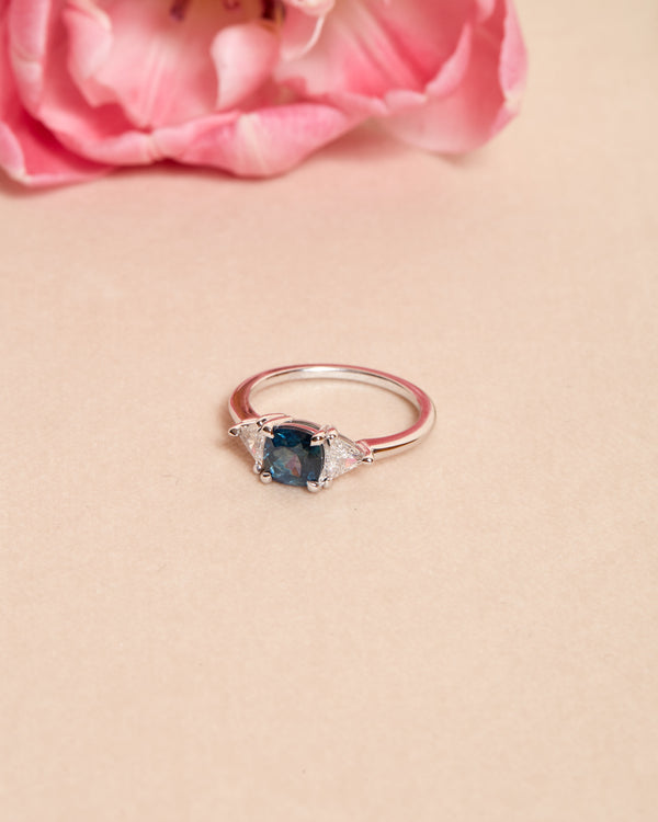 Elsa Blue/Green Sapphire & Diamond 3 Stone Ring - 18ct White Gold
