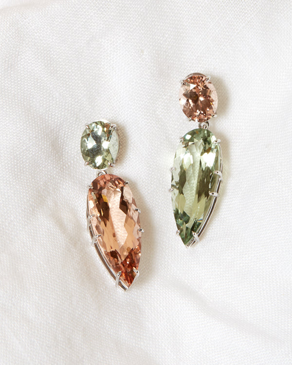Monroe Moonstone and Green Quartz Earrings - 14ct White Gold