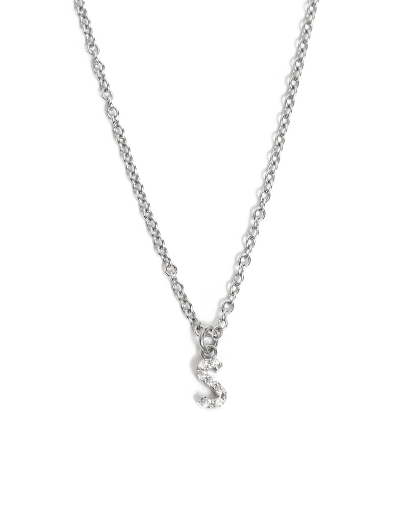 Diamond Letter Necklace - 9ct White Gold