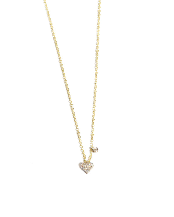 Diamond Heart Necklace - 14ct Yellow Gold