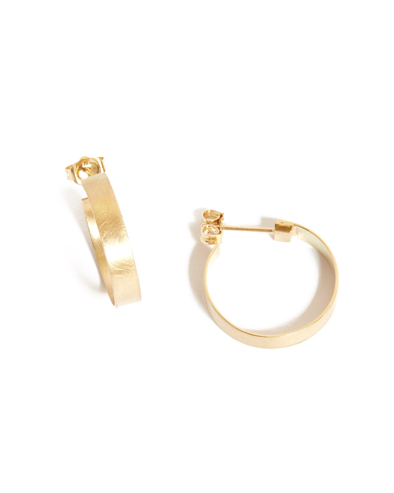 Frida Hoops (Brushed) - 9ct Gold