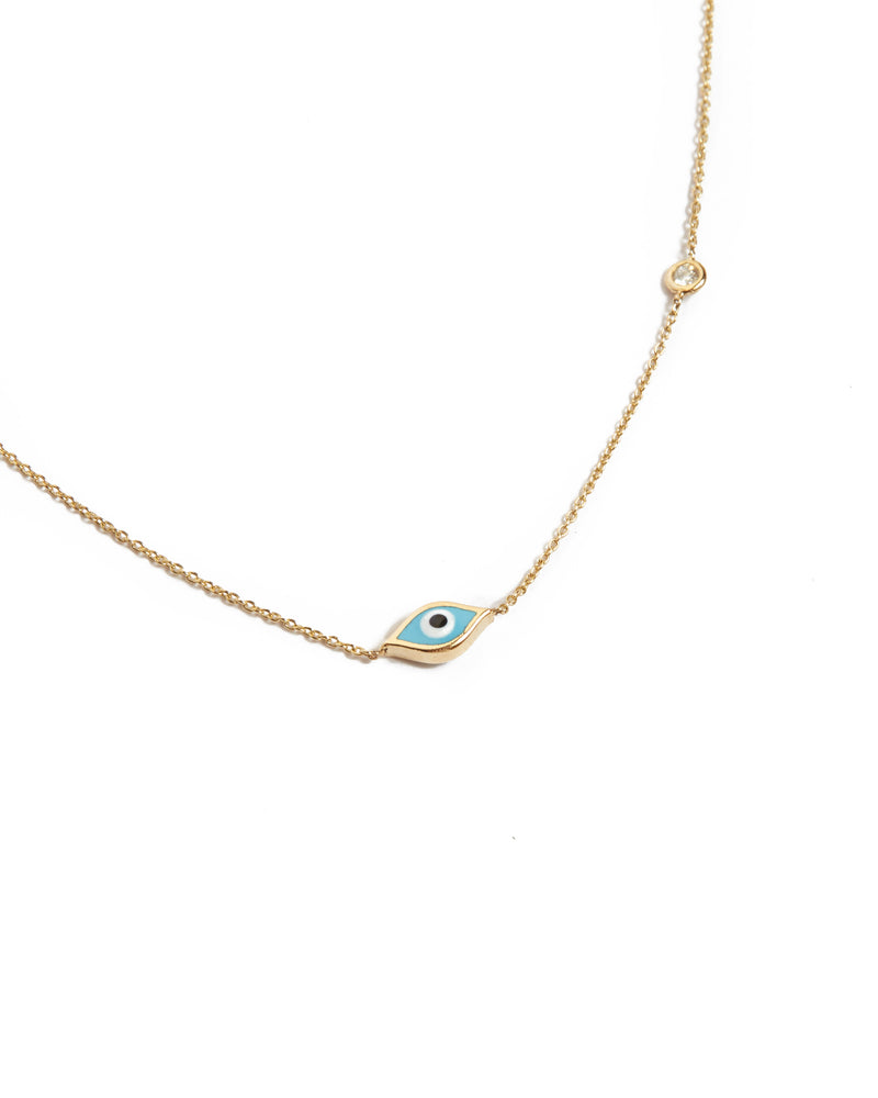 Marquise Evil Eye & Diamond Necklace - 14ct Gold