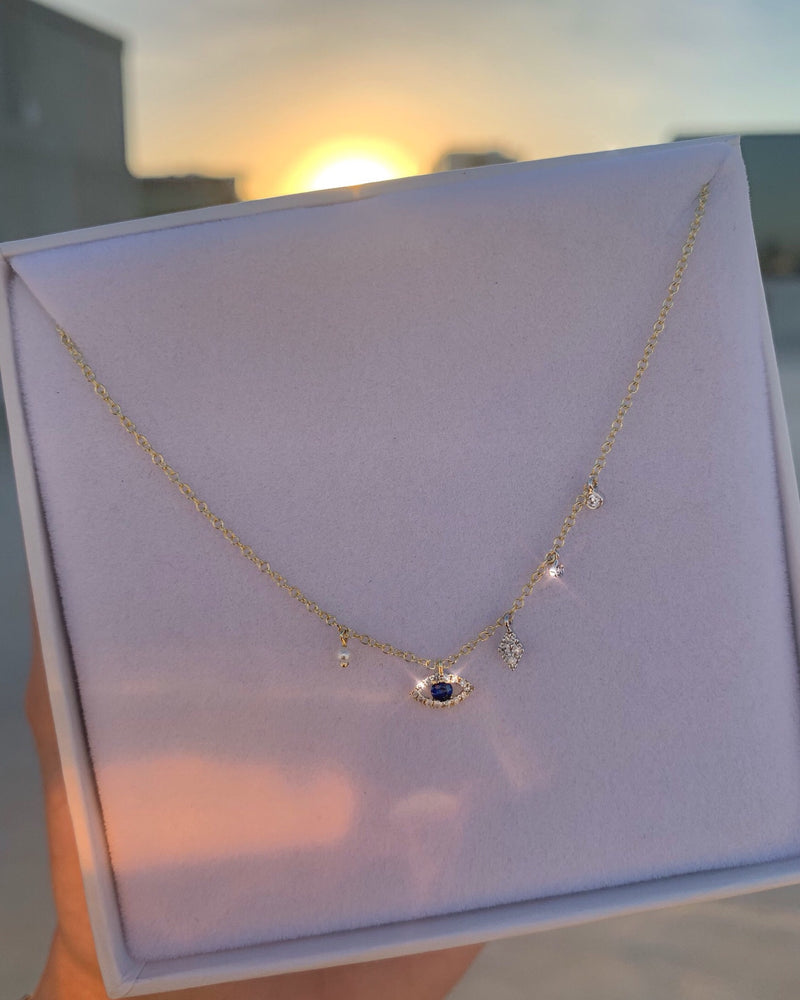Evil Eye Necklace with Diamonds & Pearl - 14ct Yellow Gold