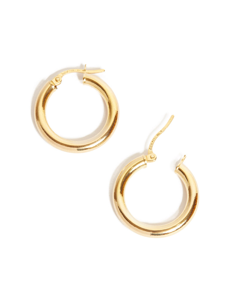Chunky Tube Hoops Small - 9ct Gold