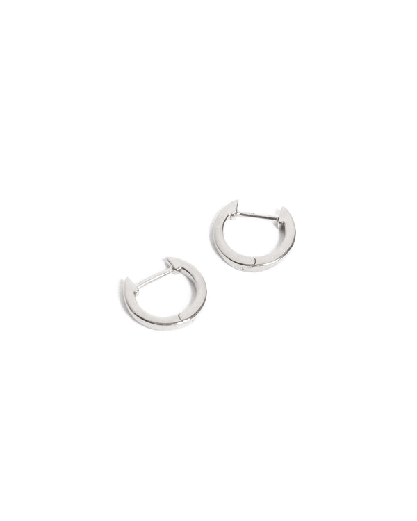 Square Huggies Small - 9ct White Gold