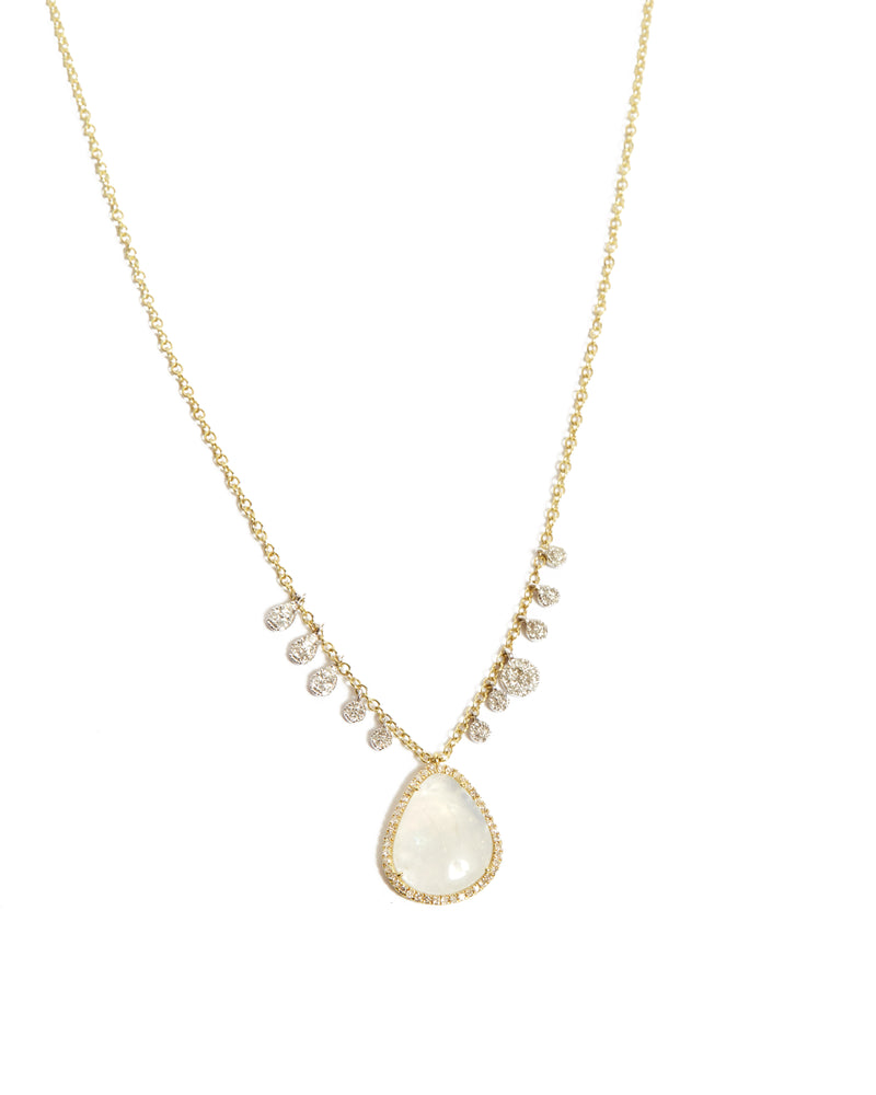 Moonstone & Diamond Charm Necklace - 14ct Yellow Gold