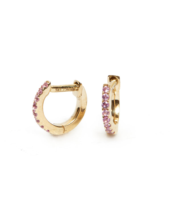 Pink Sapphire Huggie Extra Small - 14ct Gold